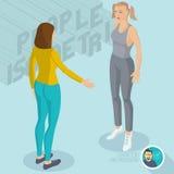 Dwa damy komunikuje w gym ilustracja wektor