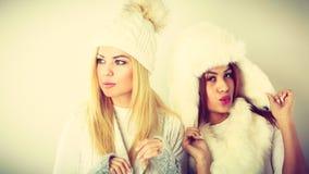 Dwa damy w zima bielu stroju zdjęcie royalty free