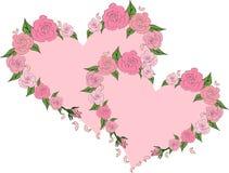 Dwa delikatnego serca obramiającego z różami, poślubia Obrazy Royalty Free