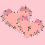 Dwa delikatnego serca obramiającego z różami, poślubia Zdjęcia Royalty Free