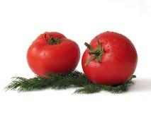 Dwa dojrzałej wiązki pomidory i Zdjęcia Royalty Free