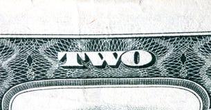 Dwa dolarowego rachunku Zdjęcie Royalty Free