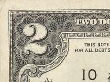 Dwa dolarowego rachunku zakończenie na bielu Obraz Stock