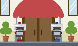 Dwa domowej robota pracownika ochrony pozyci przy wejściową bramą budynek royalty ilustracja