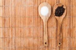 Dwa drewniana łyżka z solą i pieprzem Obraz Stock