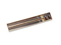 Dwa drewnianego chopsticks w pudełko secie Zdjęcie Stock