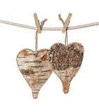 Dwa drewnianego serca Fotografia Stock
