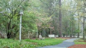 Dwa drewnianej ławki i birdhouse obok ścieżki obrazy royalty free