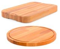 Dwa drewnianej tnącej deski dla cooking/na białym backgrou zdjęcia royalty free