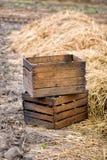 Dwa drewniany opróżniają pudełka Obraz Royalty Free