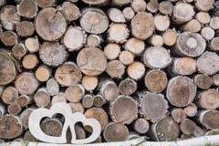 Dwa drewniany serce Zdjęcia Royalty Free