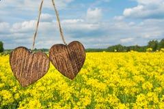 Dwa drewniany serce Obraz Stock