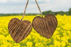 Dwa drewniany serce Obrazy Royalty Free