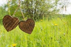 Dwa drewniany serce Fotografia Royalty Free