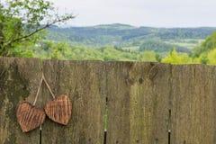 Dwa drewniany serce Fotografia Stock