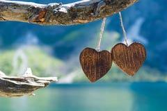 Dwa drewniany serce Zdjęcie Royalty Free