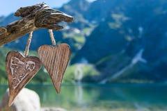 Dwa drewniany serce Zdjęcie Stock