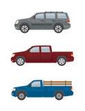 Dwa droga samochodu odizolowywającego na białym tle i furgonetki Obrazy Royalty Free