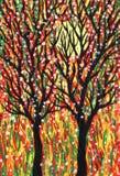 Dwa drzewa i słońce Sztuka obrazek Zdjęcia Royalty Free