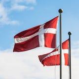 Dwa duńskiej flaga trzepocze w wiatrze Fotografia Stock
