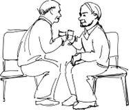 Dwa dziadów napoju obsiadanie na krzesłach ilustracji