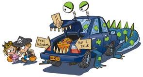 Dwa dzieciaka bagażnik lub funda na Halloweenowej klamerki sztuce Zdjęcie Stock