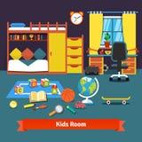 Dwa dzieciaka izbowego z łóżkiem, biurkiem, krzesłem i zabawkami, ilustracja wektor