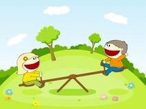 Dwa dzieciaka na seesaw Fotografia Royalty Free