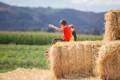 Dwa dzieciaka przyjaciela, siedzi na siano bloku zdjęcia stock