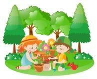 Dwa dzieciaka zasadza drzewa w ogródzie Obrazy Stock