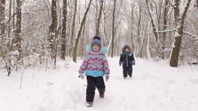 Dwa dziecka chłopiec i dziewczyna bawić się w zima parku zdjęcie wideo
