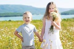 Dwa dziecka chłopiec i dziewczyna przy rumianku polem zdjęcia royalty free