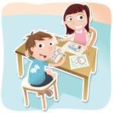 Dwa dziecka rysunkowego wpólnie Obrazy Royalty Free