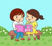 Dwa dziewczyn czytelnicza książka w parkowej wektorowej ilustraci royalty ilustracja