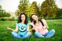 Dwa dziewczyn młody szczęśliwy kłamstwo na trawie Zdjęcia Stock