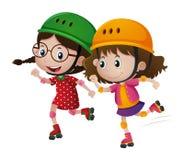 Dwa dziewczyn rollerskate wpólnie ilustracji