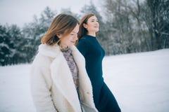 Dwa dziewczyn spacer przez zima lasu zdjęcia royalty free