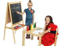 Dwa dziewczyn sztuka w szkole (serie) Fotografia Royalty Free