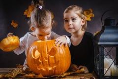 Dwa dziewczyn sztuka z Halloweenową banią Zdjęcia Stock
