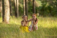 Dwa dziewczyna dzieciaka pozuje dla kamery Zdjęcie Stock