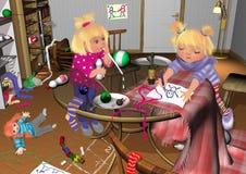 Dwa dziewczyny bawić się w upaćkanym pokoju Zdjęcie Royalty Free
