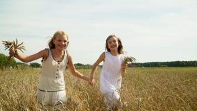 Dwa dziewczyny biegają na złocistym polu banatka Dwa pięknej uroczej dziewczyny w światło białe sukni bieg przez pole zbiory