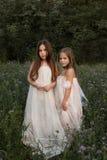 Dwa dziewczyny chodzi na zielonej łące wśród wysokiej trawy Obrazy Royalty Free