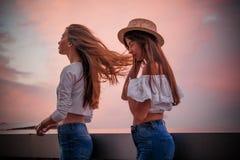 Dwa dziewczyny iść spotykać wiatr obrazy stock