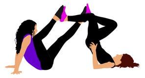 Dwa dziewczyny matują ćwiczenia, rowerowa poza na podłoga dla rozgrzewkowy up, ilustracja wektor
