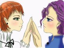 Dwa dziewczyny na białym tle Obrazy Stock