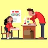 Dwa dziewczyny na chemicznych klasach ilustracja wektor