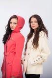 Dwa dziewczyny reklamują odzieżowego zdjęcie royalty free