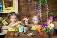 Dwa dziewczyny rośliny kwiatu w garnkach Fotografia Royalty Free