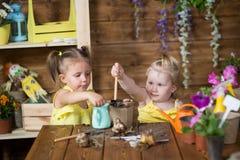 Dwa dziewczyny rośliny kwiatu w garnkach Obrazy Royalty Free